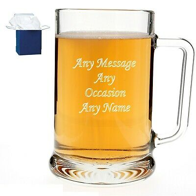 Personalised Engraved Pint Beer Glass Tankard 18th 21st 30th 50th Birthday Gift • 9.98£