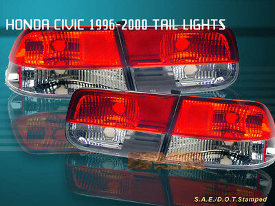 $82.99 • Buy Fit For 96-00 HONDA CIVIC TAIL LIGHTS RED/CLEAR 2DR COUPE 98 99