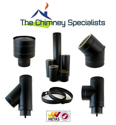 Volcano Plus Twin Wall Insulated Flue Chimney System Black 5  And 6  Internal • 24.20£