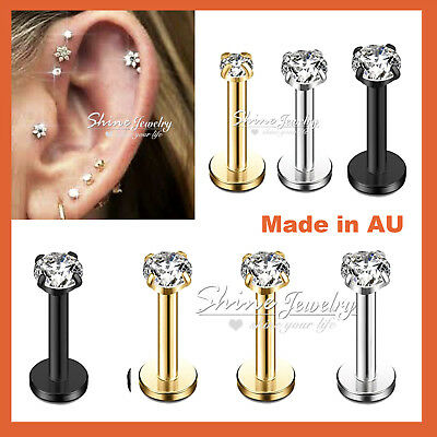 AU4.72 • Buy Titanium Ear Helix Tragus Cartilage Earring Lip Crystal Bar Stud Body Piercing
