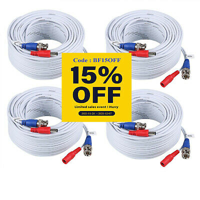 AU35.98 • Buy SANNCE 4x 100ft 30M BNC Video Power Cables Wires For Home Security Camera System