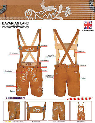 £32.99 • Buy Mens Bavarian LEDERHOSEN Synthetic Leather  With Matching Suspenders Shorts