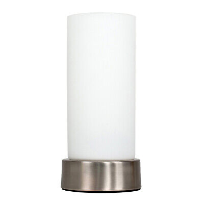 Metal Chrome Cylinder Table Lamp Frosted Glass Shade Modern Bedside Light  • 16.99£