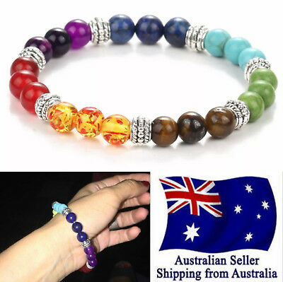 AU6.50 • Buy New Chakra Bracelet Healing Lava Stone Color Bead Oil Diffuser Aromatherapy 1pc