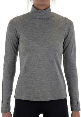 More Mile Train To Run Womens Running Top Grey Long Sleeve Funnel Neck Jersey • 12.99£