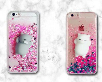 AU12.48 • Buy Bling Glitter Pink Quicksand 3D Squishy Lazy Cat Soft Dynamic Back Cover Case E