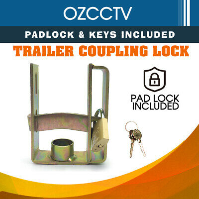 AU20.54 • Buy Trailer Coupling Hitch Lock Heavy Duty With Padlock Keys Caravan Camper Boat
