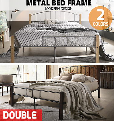 AU160 • Buy Double Metal Bed Frame W/ Solid Wood Timber Post Queen King Single Bedroom