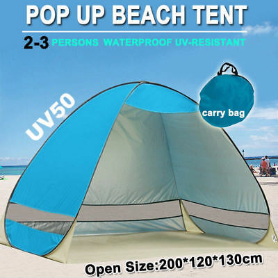 AU26.85 • Buy Pop Up Portable Beach Tent Canopy Sun Shade Shelter Summer Camping 2-3 Persons