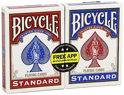 £4.95 • Buy 2 X Bicycle Standard Rider Back Poker Casino Playing Cards - 1 Red & 1 Blue Deck