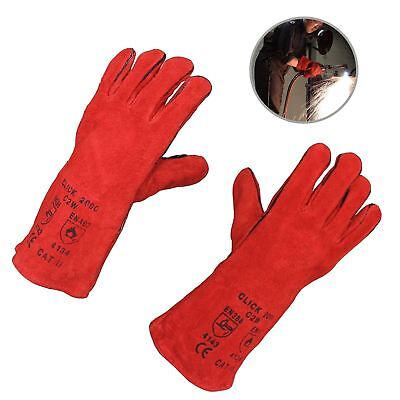 Red Mig Welding Gauntlets Protective Gloves Heat Resistant Leather CE Approved • 6.99£