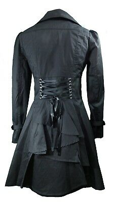 20 22 24 26 28 Plus Black NEW Gothic Victorian Corset Trench Steampunk Jacket • 43.03£