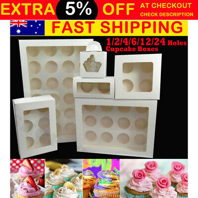 AU40.80 • Buy Premium Cupcake Box Range 2  4 6 Hole 12 Hole 24 Hole Window Face Cases Party