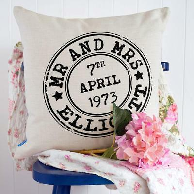Personalised Anniversary Couple Cushion Cover Pillow Cute Love Gift Him Her KC35 • 12.95£