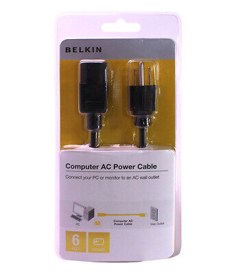 $6.25 • Buy Belkin 6-Feet Computer Monitor AC Cable Plug 3-Pin Connector Female Power Cord
