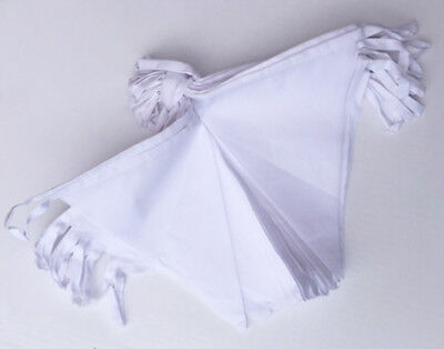 £7.50 • Buy White Bunting COTTON FABRIC 6m 20 Pennants Wedding Decoration Party Party Banner