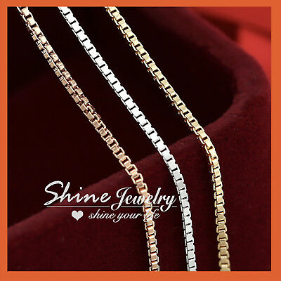 AU10.85 • Buy 18K GOLD GF SOLID BOX CHAIN WOMEN MEN GIRLS NECKLACE For Pendant 16-24 INCH GIFT