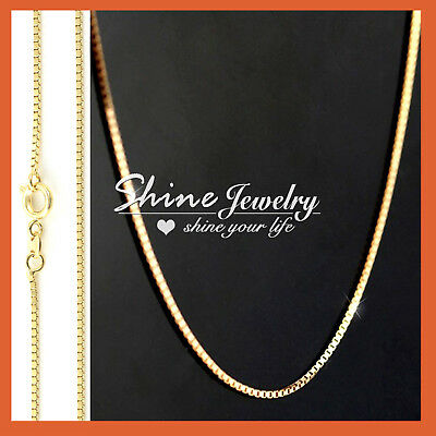 AU10.97 • Buy 18K YELLOW GOLD GF SOLID MENS WOMEN 16-24'' Box Chain Necklace For Pendant Charm