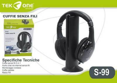 CUFFIE WIRELESS SENZA FILI Con RADIO FM PER TV   DVD   MP3   PC   4d6e5248b6be