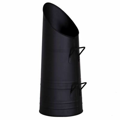 Coal Scuttle Fireside Fire Fuel Bin Bucket Handles In Black 56 X 23cm • 14.99£