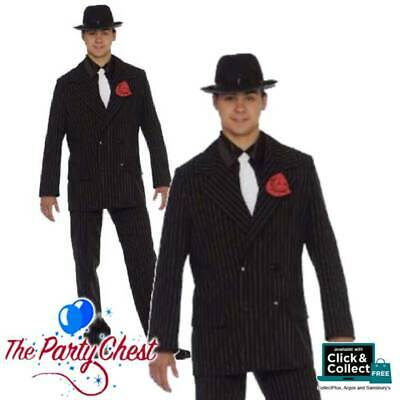 GANGSTER PINSTRIPE ZOOT SUIT COSTUME Vintage 1920s Mafia Mob Fancy Dress Outfit • 26.95£
