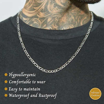 $5.99 • Buy Stainless Steel Silver Figaro Chain Bracelet And Necklace Men Women 3-12mm 7-38