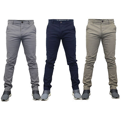 Mens Chino Jeans Crosshatch Slim Fit Pants Chinor Straight Leg Trousers Bottoms  • 20.98£