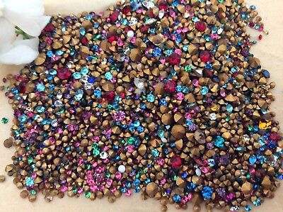 Swarovski Czech Rhinestone Jewellery 150 TINY Size Colour Gold Foiled REPAIR  • 3.20£