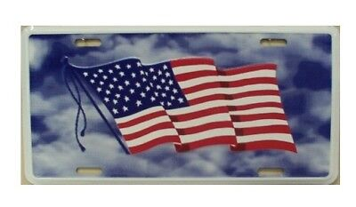 USA Flag Red White Blue License Plate Patriotic Aluminum Embossed Car Tag Auto • 6.87£