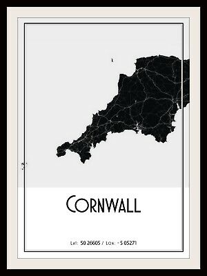 Cornwall Map Poster Print Modern Contemporary Cities Travel Ikea Frames • 11.60£
