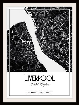Liverpool City Map Poster Print Modern Contemporary Cities Travel Ikea Frames • 11.65£