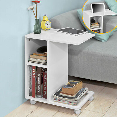 £39.95 • Buy SoBuy White Coffee Sofa Side End Table On Wheels With Storage Shelves,FBT48-W,UK