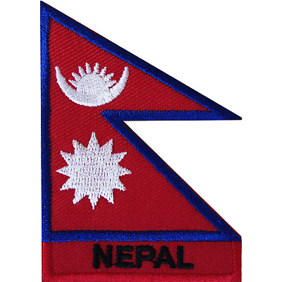 Nepal Flag Iron On Patch Sew On Kathmandu Nepali Mount Everest Embroidered Badge • 2.79£