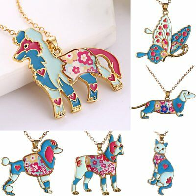 $0.99 • Buy Colorful Printing Butterfly Dog Cat Animal Pendant Necklace Women Costum Jewelry
