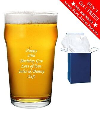 £8.95 • Buy Personalised Engraved Pint Beer Glass Birthday Gift Any Age 18th 21st 30th 40th