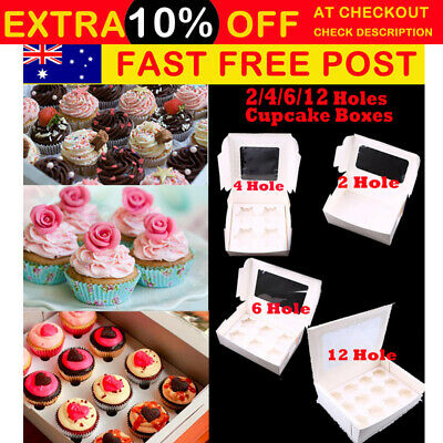 AU58.99 • Buy Cupcake Box Cases 2 Hole 4 Hole 6 Hole 12 Hole 24 Hole Window Face Gift Party