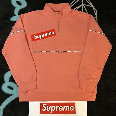 $ CDN324.79 • Buy Supreme Logo Piping Half Zip Sweatshirt (coral) (xl) Ss18 Fw18 Madonna Tee