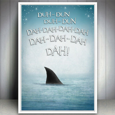 Seaside Jaws Shark Funny Bathroom Sea Print Picture Humour Quote Art Poster Wall • 6.99£