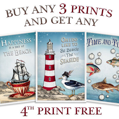 Seaside Art Print Beach Sea Nautical Ship Lighthouse Picture Bathroom Poster • 6.99£