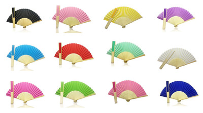 £1.99 • Buy Foldable Hand Held Bamboo And Wooden Fan - Summer, Wedding, Chinese
