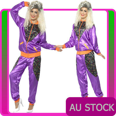AU37 • Buy Ladies 80s Height Of Fashion Purple Shell Suit Tracksuit 1980s Womens Costume