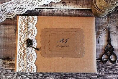 Personalised Rustic Kraft Wedding Guest Book With Lace, Twine, Lock & Key. • 26.50£