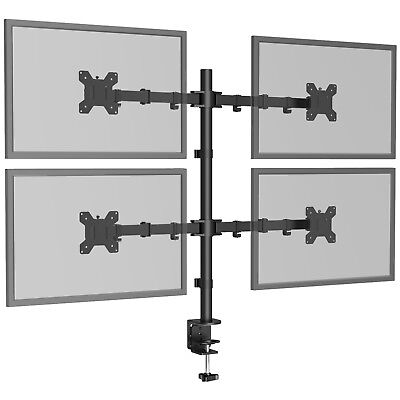 """£45.99 • Buy Quad Four Arm Desk Mount LCD Computer Monitor Bracket Stand 13""""-27"""" Screen TV"""