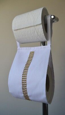 Fabric Toilet Rolls Holder White With Gold Diamond Ribbon For 1 Or 2 Rolls  • 5.99£