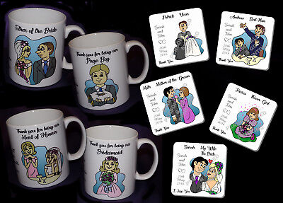£3.49 • Buy Personalised Mugs And Coasters Wedding Favour Thank You Gifts Present 25 Designs