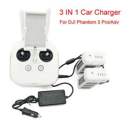 AU44.49 • Buy 3 IN 1 Car Charger Battery Charging Adapter For DJI Phantom 3 Pro/Adv SE Drones