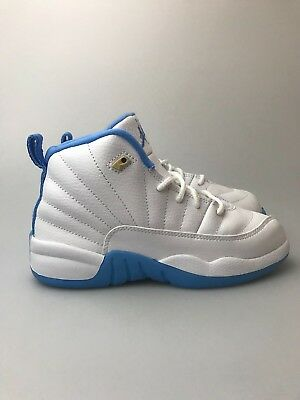 b6f19a36ec3658 Preschool Jordan Retro 12 PS GP White University Blue Gold 510816-127 XII  Girls •
