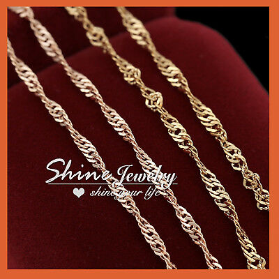AU8.97 • Buy 18K GOLD GF SOLID SINGAPORE CHAIN WOMEN MEN GIRL NECKLACE For Pendant 16-24 INCH