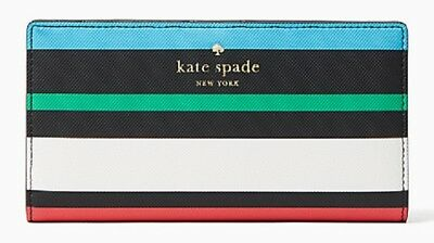 $ CDN59.64 • Buy NWT Kate Spade Harding Street Fiesta Stripe Stacy Wallet Black Multi New $100