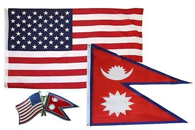 Wholesale Combo USA & Nepal Country 3x5 3'x5' Flag & Friendship Lapel Pin • 9.85£